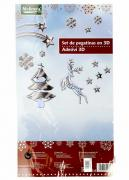 M19-570008, Christmas stickers set 3D universal silver-white